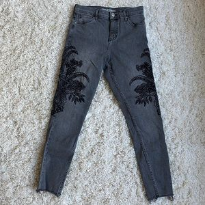 Embroidered top shop jeans